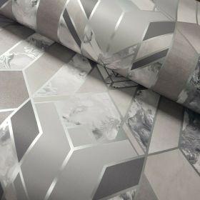 Muriva Elixir Geo Silver 167501- Geometric Marble Wallpaper