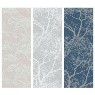 Holden Decor Whispering Trees Glitter Feature Wallpaper-Dusky Pink- 65400-Dark Blue- 65402