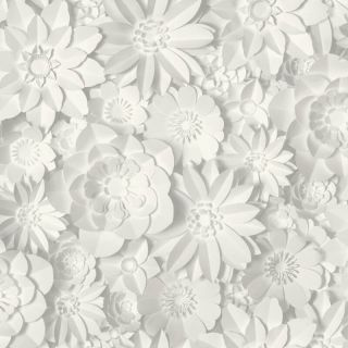 Fine Decor 3D Dimensions Floral Wallpaper-White/Grey- FD42554