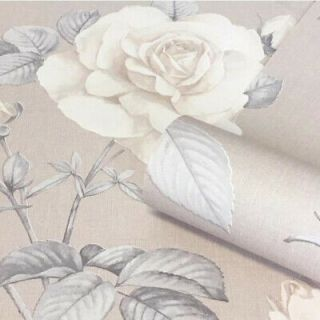 Belgravia Luxury Floral Flower Roses Textured Wallpaper Linen Effect Natural