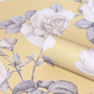 Belgravia Luxury Floral Flower Roses Textured Wallpaper Linen Effect Yellow 9765