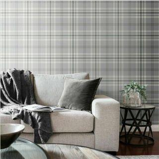 Tartan Kelso Check Wallpaper Grey Silver White Catherine Lansfield Muriva 165521