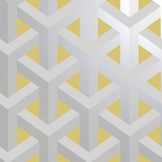 Holden Decor Glistening Trident Geo Grey/Yellow Metallic Wallpaper- 12811