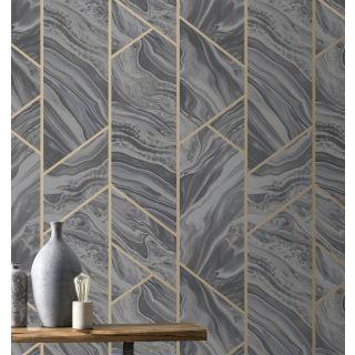 Marble Geo - Charcoal 310955