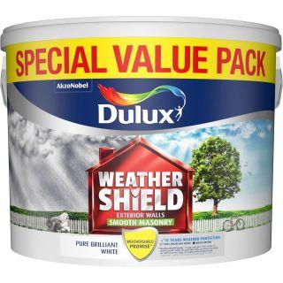 Dulux Weathershield Smooth Masonry Paint Pure Brilliant White 7.5L