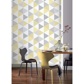 Linen Triangles Yellow and Grey 903704