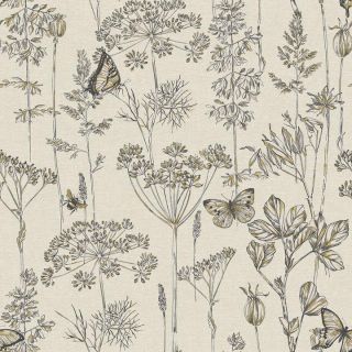 Meadow Floral Charcoal & Ochre 904105