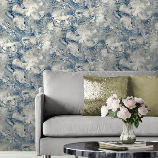 Muriva Elixir Liquid Marble Blue/Gold Metallic Wallpaper- 166504