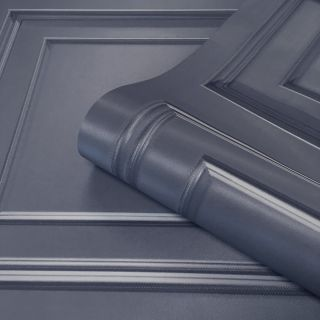 Amara Wood Panel Wallpaper Dark Blue by Belgravia Decor GB 7375