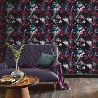 Arthouse Floral Collage Plum/Teal Glitter Wallpaper- 297100