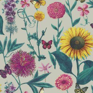 Arthouse Summer Garden Floral Grey Yellow Pink Green Butterfly Floral Wallpaper