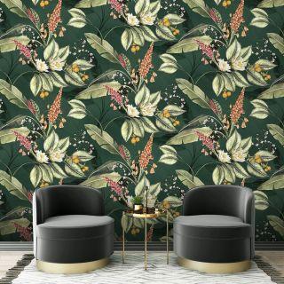 Belgravia Paradise Garden Floral Wallpaper Green- 6601