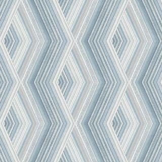 Crown Aura Geometric Diamond Blue/Silver Metallic Wallpaper- M1581
