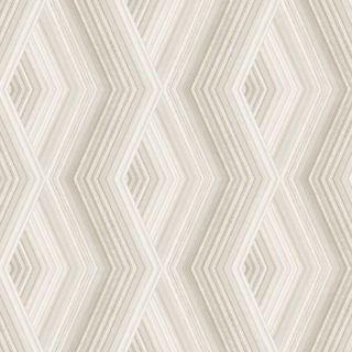 Crown Aura Geometric Diamond Latte/Silver Metallic Wallpaper- M1582