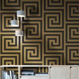 Debona Athena Greek Key Black/Gold Metallic Glitter Wallpaper