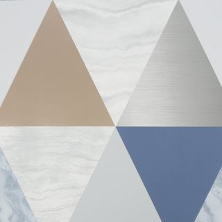 Graham & Brown Harlequin Blue Rose Gold  Geo Triangle Marble Effect Wallpaper- 111399