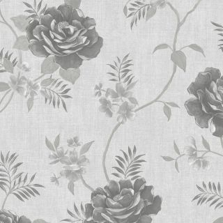 Muriva Rosalind Floral Wallpaper Grey - 173501