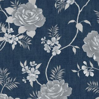 Muriva Rosalind Floral Wallpaper Blue White Wallpaper- 173503