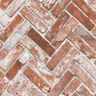 Muriva Herringbone Brick Red Wallpaper - 174501