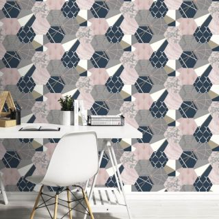 Rasch Portfolio Vintage Hexagon Multi Metallic Wallpaper- 215908
