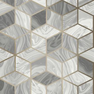 Rasch Portfolio Marble Geo Squares Grey/Gold Metallic Wallpaper - 248975