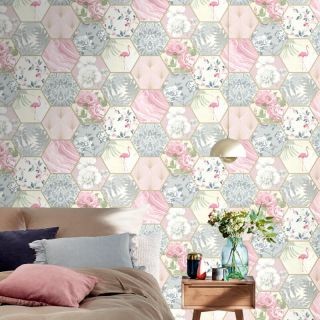 Rasch Portfolio Vintage Hexagon Multi Metallic Wallpaper- 249538